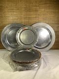 8 Vintage Wilton Pewter Plates & 2 Wilton Pewter Serving Trays.