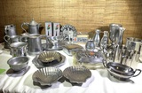 Large Group of Pewter & Stainless Mid Century Items by - Pewtarex, Wilton & Bel.