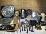 Pewter Decorative Plates, Flatware, Mid Century Ashtrays, & More.