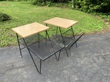 Pair of Mid Century Modern End Tables -metal and wood.