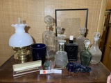 Group of Decanters, Stoppers, Watchband, Lamp, Viking Glass and More.