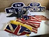 Cardboard Signs, Mini Flags, Eagle and Mug.