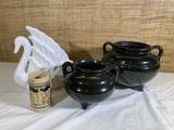 Van Briggle Pottery Colo Spgs White Swan, Vintage Roseville R.R.P Pots & Stein.