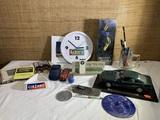 Advertising Meci Clock, Cinzano Vermouth, Vintage Apple Pens, BMW Pola Plastic Display.