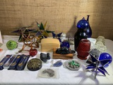 Paperweight, Insulators, Glass Blown Ornament, Wooden Boxes and More.