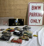 Collector Cars, BMW Sign and BMW License Plate.