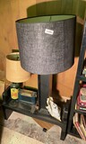 MCM black stand with lamp, radio.