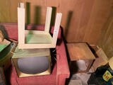 Antique Television, plastic, wooden stand.