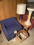 MCM Lamps, stool, chair, tables.