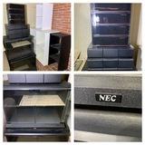 2 NEC Entertainment Stands, Laser Line Storage, Cassette Holders & Storage Shelves.