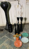 Czechoslovakia Glassware, Denmark Made Candle Stick Holders, Huliot Cups .