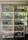 Great Group of Vintage Glassware, Wind Chimes, Bird Feeder, Plastic Shelves and More. .