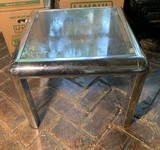 Chrome and Glass Side Table.