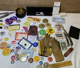 Collection of Buttons, Knives, Pens, Watch, Gloves and More.