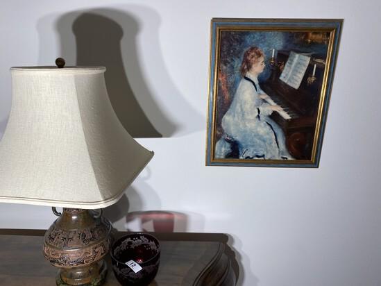 Vinage lamp, red cut glass bowl, Renoir print.