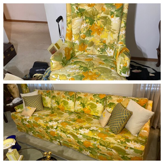 Vintage Floral Couch, Chair, footstool