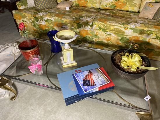 Items on table including Italian ceramic urn
