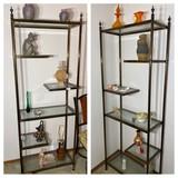2 Vintage Glass and Metal Shelves