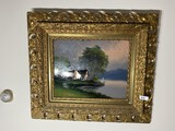 Large Antique Reverse Painted Glass Painting