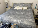 King Sized bed, mattress, bedding