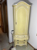Vintage Yellow and White tall cabinet