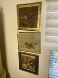 Three vintage framed Asian prints.