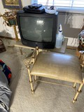 Stool, table, TV and plant stand