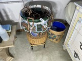 Large ceramic planter, stool, basketweave bin