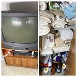 TV, Stand, VCR, DVD player, linen closet lot