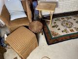 Chinese carpet, chair, ottoman