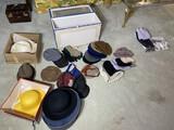 Group lot of vintage hats, handkerchiefs