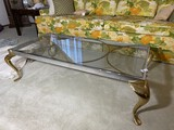 Vintage glass, steel and brass coffee table