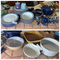 Group lot of blue dishes, utensils etc