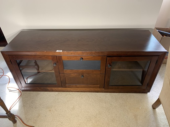 Entertainment stand with glass doors
