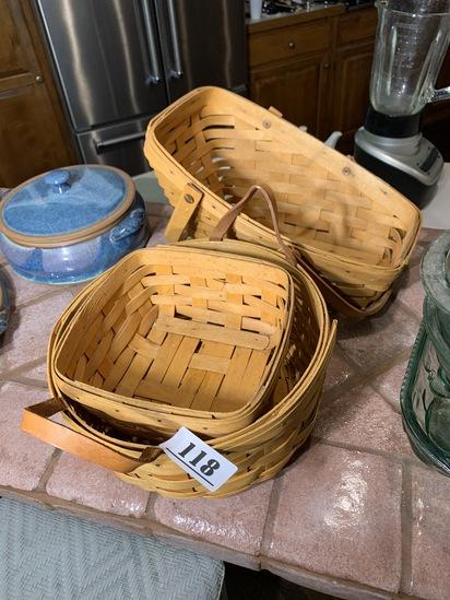 Group lot of 3 Longaberger baskets