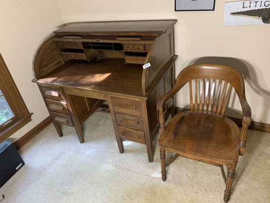 Vintage roll top desk and chair