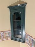 Small wooden wall mount corner cupboard