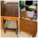 Four nesting wooden tables by Ethan Allen
