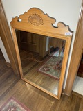 Vintage Oak Mirror with Shell by Broyhill