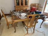 Vintage Broyhill oak dining table and 8 chairs