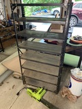 Metal shelf and Poulan electric chainsaw