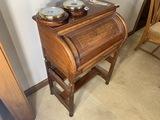 Unusual antique cylinder desk