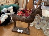 Metal horse sculpture