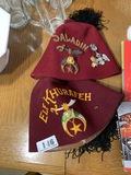 Fraternal Fez Hats & Jewelry Lot