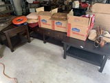 Wooden Stand, large table, bench with drawers