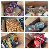 3 boxes of assorted housewares, crystal