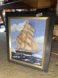 Signed oil on board painting of a ship