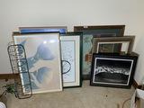 Framed art, barbed wire piece etc