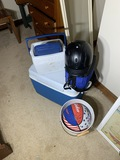 Coolers, riding helmet, signed Globetrotters basketball