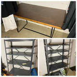 2 metal shelves and table lot